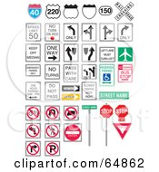 Royalty Free RF Clipart Illustration Of A Digital Collage Of Interstate And Traffic Signs On White