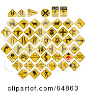 Royalty Free RF Clipart Illustration Of A Digital Collage Of Yellow Caution Traffic Signs On White