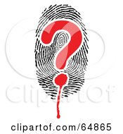 Royalty Free RF Clipart Illustration Of A Question Mark Over A Thumb Print by Frog974