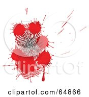 Royalty Free RF Clipart Illustration Of Red Blood Splatters Over A Fingerprint by Frog974