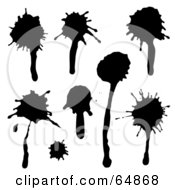 Digital Collage Of Dripping Black Ink Splatters - Version 1