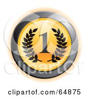 Royalty Free RF Clipart Illustration Of A Yellow First Place Button With Chrome Edges