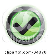 Royalty Free RF Clipart Illustration Of A Green Check Mark Button With Chrome Edges