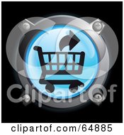 Royalty Free RF Clipart Illustration Of A Blue Remove From Shopping Cart Button With Chrome Edges