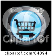 Royalty Free RF Clipart Illustration Of A Blue Shopping Cart Button With Chrome Edges by Frog974