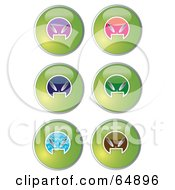Royalty Free RF Clipart Illustration Of A Digital Collage Of Colorful Alien Head Website Buttons Version 2 by YUHAIZAN YUNUS