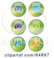 Royalty Free RF Clipart Illustration Of A Digital Collage Of Colorful Alien Head Website Buttons Version 1 by YUHAIZAN YUNUS