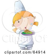 Royalty Free RF Clip Art Illustration Of A Young Female Chef Girl Holding A Plate Of Hot Food by YUHAIZAN YUNUS