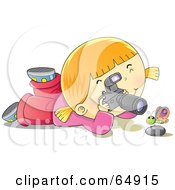 Royalty Free RF Clipart Illustration Of A Happy Blond Girl Photographing A Butterfly Over A Rock
