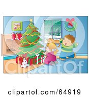 Royalty Free RF Clipart Illustration Of An Excited Boy And Girl Ready To Open Their Christmas Presents On A Winter Day by YUHAIZAN YUNUS