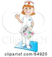 Royalty Free RF Clipart Illustration Of A Friendly Hospital Nurse Waving And Standing With A Newspaper