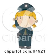 Royalty Free RF Clipart Illustration Of A Waving Police Woman In A Blue Uniform