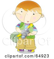 Royalty Free RF Clipart Illustration Of A Little Boy Photographer Holding A Camera by YUHAIZAN YUNUS