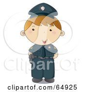 Royalty Free RF Clipart Illustration Of A Police Man In A Blue Uniform by YUHAIZAN YUNUS