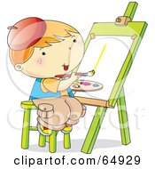 Happy Little Boy Sitting On A Stool And Painting On An Easel