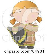 Royalty Free RF Clipart Illustration Of A Friendly Fire Woman In A Brown Uniform Giving The Thumbs Up by YUHAIZAN YUNUS