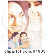 Royalty Free RF Clipart Illustration Of People Personscenes Of Teenage Girls Smiling Laughing And Whispering