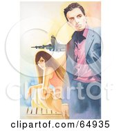 Royalty Free RF Clipart Illustration Of A Young Woman Sitting And Looking Back At A Stylish Man At An Airport by YUHAIZAN YUNUS
