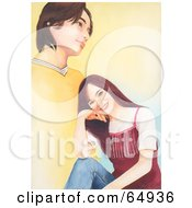 Royalty Free RF Clipart Illustration Of A Young Teen Girl Smiling And Thinking Of A Boy