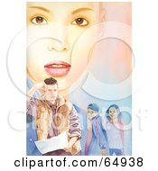 Royalty-Free (RF) Clipart Illustration of a Young Woman's Face Behind A Man And Two Children by YUHAIZAN YUNUS