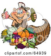 Royalty Free RF Clipart Illustration Of A Thanksgiving Native American Man Holding Corn And An Apple Over A Horn Of Plenty