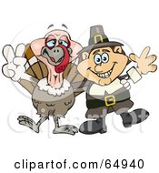 Royalty Free RF Clipart Illustration Of A Male Pilgrim And Thanksgiving Turkey Gesturing Peace Signs