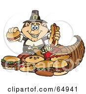 Royalty Free RF Clipart Illustration Of A Thanksgiving Pilgrim Man With Fast Food Spilling Form A Cornucopia