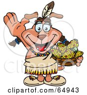 Royalty Free RF Clipart Illustration Of A Thanksgiving Native American Sparkey Dog Holding A Bowl Of Corn