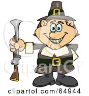 Royalty Free RF Clipart Illustration Of A Male Pilgrim Holding A Blunderbuss Out At His Side