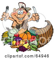 Royalty Free RF Clipart Illustration Of A Thanksgiving Native American Man With Silverware Standing Over A Cornucopia