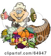 Royalty Free RF Clipart Illustration Of A Thanksgiving Pilgrim Woman Holding Corn And An Apple Over A Horn Of Plenty
