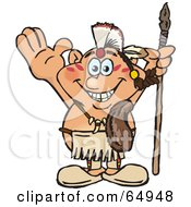 Royalty Free RF Clipart Illustration Of A Thanksgiving Native American Man Holding A Spear