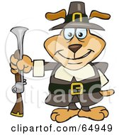 Royalty Free RF Clipart Illustration Of A Sparkey Dog Pilgrim Holding A Blunderbuss Out At His Side