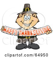 Royalty Free RF Clipart Illustration Of A Male Pilgrim Smiling And Holding A Happy Thanksgiving Banner