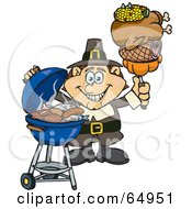 Royalty Free RF Clipart Illustration Of A Male Pilgrim Holding Corn Chicken Ham And A Pumpkin On A Fork By A BBQ by Dennis Holmes Designs