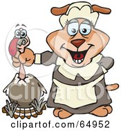 Royalty Free RF Clipart Illustration Of A Female Sparkey Dog Pilgrim Holding A Thanksgiving Turkey Bird By The Neck by Dennis Holmes Designs