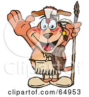 Royalty Free RF Clipart Illustration Of A Thanksgiving Native American Sparkey Dog Holding A Spear