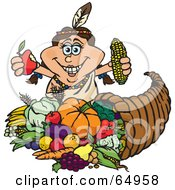 Thanksgiving Native American Woman Holding Corn And An Apple Over A Horn Of Plenty