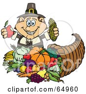 Royalty Free RF Clipart Illustration Of A Thanksgiving Pilgrim Man Holding Corn And An Apple Over A Horn Of Plenty