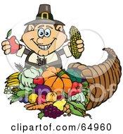 Thanksgiving Pilgrim Man Holding Corn And An Apple Over A Horn Of Plenty