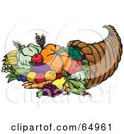 Royalty Free RF Clipart Illustration Of A Horn Of Plenty With Harvested Fruits And Veggies