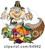Royalty Free RF Clipart Illustration Of A Thanksgiving Pilgrim Man With Silverware Standing Over A Cornucopia