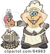 Royalty Free RF Clipart Illustration Of A Female Pilgrim Holding A Thanksgiving Turkey Bird By The Neck