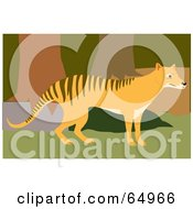 Royalty Free RF Clipart Illustration Of A Wandering Tasmanian Tiger In A Forest by Dennis Holmes Designs