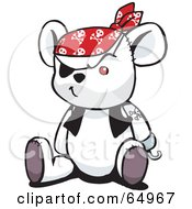 Royalty Free RF Clipart Illustration Of A White Pirate Teddy Bear Version 4 by Dennis Holmes Designs