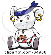 Royalty Free RF Clipart Illustration Of A White Pirate Teddy Bear Version 1