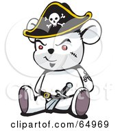 Royalty Free RF Clipart Illustration Of A White Pirate Teddy Bear Version 2