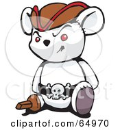 Royalty Free RF Clipart Illustration Of A White Pirate Teddy Bear Version 3