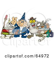 Royalty Free RF Clipart Illustration Of A Wizard And Owl With Bottles And Books
