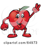 Royalty Free RF Clipart Illustration Of A Red Apple Man Gesturing The Peace Sign by Dennis Holmes Designs